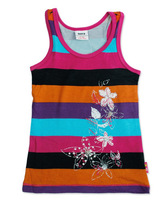 Free shipping NWT 5pcs/lot girl summer fashion cotton multicolor stripe vest with flowers