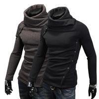 Men Thicken Fashion Slim Fit Unique Design Button Turtleneck Casual Pullovers Sweater MY07 High Collar