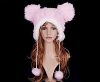 2013 Free Shipping Cartoon Animal Hat Lovely pink animals Fluffy Plush Winter Warm Hat Hats Cap W4135
