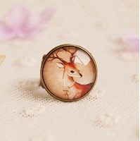 Min Order $15(Can Mix Item)European and American jewelry wholesale fashion Imitation Time gem deer retro ring Free shipping