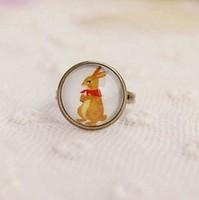Min Order $15(Can Mix Item)Handmade vintage small accessories cartoon rabbit imitation time gem female decoration ring