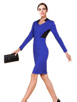 Freee Shipping New 2014 women's Victoria Beckham  mid waist patchwork long-sleeve dress, slim  V-neck Sexy Dress