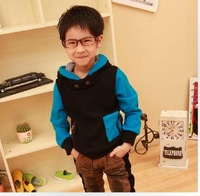 Wholesale Clothing winter male child color block thickening plus velvet with a hood casual sweatshirt