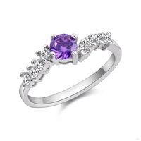 Party Amethyst Ring Sliver 925 Sterling Silver Ring Pure Size 6 7 8 9 10 11 Purple Zircon Rhinestone Engagement Bridal Ring