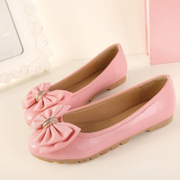 Autumn women's single flat shoes sweet bow knot metal decor single shoes round toe casual shoes plus size 5 colors 9 sizes