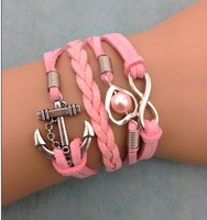3pcs infinity bracelet, heart shaped pearls bracelet,wedding bracelet anchor leather bracelt, 3150. mini order 10$