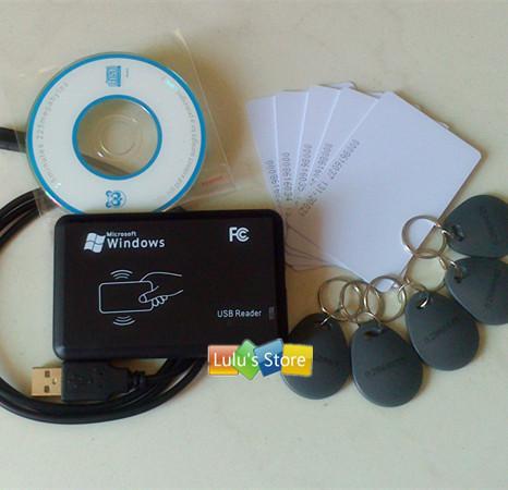 125Khz ID EM reader & writer RFID EM Copier Programmer + 10pcs writable ISO cards & keyfobs(China (Mainland))