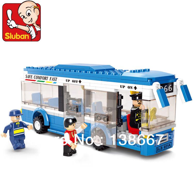 Retail Sluban Single-deck Bus/blue Safe Plastic Bus Building Block Children Bricks Toy 3Dolls 235pcs(China (Mainland))