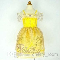 Girls Yellow Bow Sequins Formal Dress Cute Fairytale Princess Spaghetti Strap Tulle Ball Gown Children Dance Dresses 1373