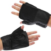 Multi-purpose Nylon and Leather Fingerless Gloves Wristband