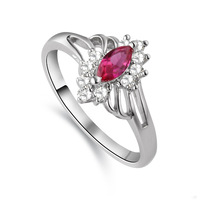925 Sterling Silver Ring Sparkling Element CZ Zirconia Ruby Red Drop Personality Ring Size 678 Wedding Band Engagement Gift