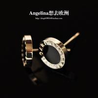 FREE SHIPPING~New Arrival Titanium Jewelry 18K Platinum Plated Black Women/Men Stud Earring