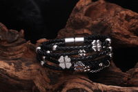 Hot sales FF Black leather bracelets 5 rounds rope bangles in ROSD GOLD four leaf clover with crystals,Christmas gift for women