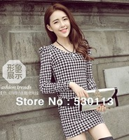 Women's clothing 2013 Korean Fashion hot sale self-cultivation temperament dress Sheath Plaid Dress Lady dresses for autumn