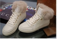 Free Shipping Newest Women Rabbit Fur Genuine Leather lace-up High top fashion boots Sneakers black white color