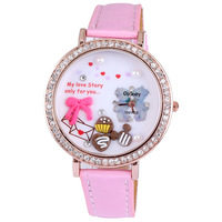 High quality Gogoey full diamond rond pink bowknot rose gold plated pu leather quartz big watches for women designer wholesale