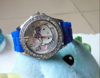Factory price Hello Kitty Lady's children Wrist Watch Time clock hours Quartz Diamond edge Dial Silicone Band 10pcs/lot