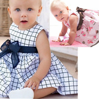 Baby dress Promotions! New powder cake ice cream belt section print baby dress/Baby clothes/Climbing clothes girl Honey plaid
