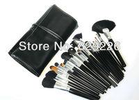 WHOLESALE 25 SETS/LOT 24 PCS PRO black make up kit makeup brushes makeup brush set with roll up bag