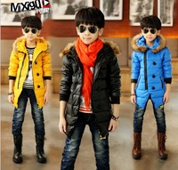 2014 new Warm cotton Blend children clothing winter baby kid Girls boys hot  Fake Fur hooded Long coat parka jacket outwear
