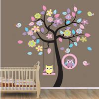Owl Bird Tree Swing Wall Sticker Decal For Kids Children Baby Nursery Room Decor