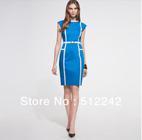 new 2013 spring summer autumn women brief hit color big size blue orange Victoria Beckham dress dresses free shipping
