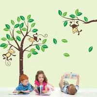 Large Cute Monkeys House Tree Wall Art Stickers Kids Nursery Vinyl Decals Decor