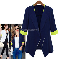 4x New Fashion Womens Lapel Zipper Three Qurater  Sleeve Slim Suit Blazer Coat  Navyblue/White Free Shipping
