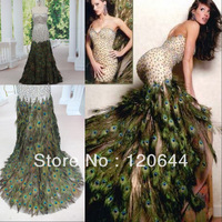 Real Sample 2014 Sweetheart Mermaid Crystal Beaded Beautiful Peacock Feather Floor Length Prom Party Dress Evening Gown
