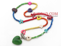Cute Girls Jewelry Long Style Assorted Dyed Multi Color Turquoise Necklace with Heart Shape Turquoise Pendant Necklace