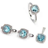 Wholesale Micro inlays jewelry Classic Blue crystal  925 silver heart set (ring/earring/pendant) 3A225set sz6 7 8 9