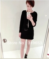 free Shipping !!!2013 Women's Autumn And Winter  Ladies  Fashion Long Sleeve Solid Black  Sheath Sexy Club Dresses  #629