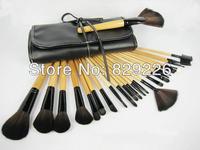 WHOLESALE 25 SETS/LOT 24pcs Natural Makeup Brush Comestic Brushes Set Kit tool Roll up Case Black
