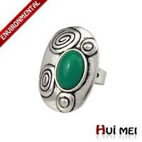Free Shipping New Fashion Silver Plated Ethnic Vintage Punk Chunky Turquoise Stone Adjustable Charms Rings Jewelry