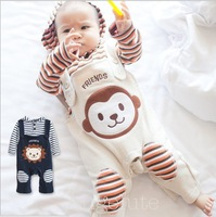 Spring Autumn Toddler Clohing Outfits  Monkey Lion Suspender Trousers Overalls + Stripe Tshirt 2pcs Baby Set Babies Suit QZ259