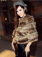 Free Shipping 2013 Winter Leopard Fur Coat Short Paragraph Slim Fur Coat Faux Fur Coat
