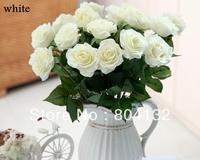"REAL TOUCH 20PCS/LOT 43cm/16.93"" Length Artificial Silk Roses Stems for Bridal Wedding Bouquet/Centerpieces Decoration"