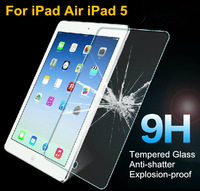 Premium Tempered Glass Screen Protector for iPad Air iPad 5 Anti Shatter Protective Film with retail package, Free Shipping