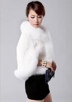 Free Shipping 2013 Winter Fox Fur Collar Rabbit Fur Cape Shawl Fur Coat Jacket Women Short Paragraph Coat