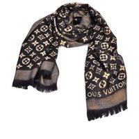 Gold Printing Brand 2014 Woman New Infinity Silk Wool Scarf Voile wrap For Women Winter shawl Apparel Accessories