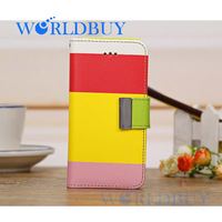 High Quality Rainbow Leather Flip Card Slot Wallet Stand Case Cover For iPhone 5C Free Shipping UPS DHL EMS FEDEX HKPAM CPAM U-3