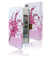 STYLISH FASHIONABLE LEATHER FLIP WALLET CASE COVER SKIN for iPhone 4 4G 4S case + Film A129