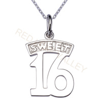 Sterling Silver 925 Pendant Says SWEET 16 Free Shipping New Arrival Hot Sell 2014 New Promotion