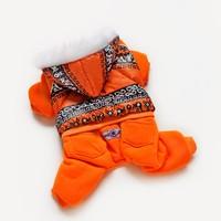 High Quality Fashion Dog Pet Clothes Dog Snowsuit Jumpsuit Warm Winter Hoodies--orange Phoenix