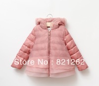 2013 new autumn and winter children clothing girls hooded coat with gauze cap three layers tulle pink princess christmas 3-8T