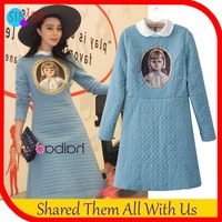 Women Clothing Winter Cotton-Padded Print Character Casual Dress Long Sleeve Knee-length Celebrity Elegant Dresses