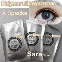 Sale 3Packs 8mm 10mm 12mm Macromolecule Polymer silk eyelashes extension eyelashes Retail