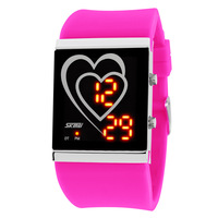 Heart led waterproof watch male women's personality jelly trend lovers watches