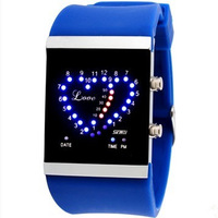Led personalized heart watches lovers jelly waterproof male table electronic watch