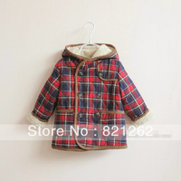 2013 new autumn and winter children clothing girls boys coat jacket classic plaid hooded velvet thick warm fahsion 2-5T
